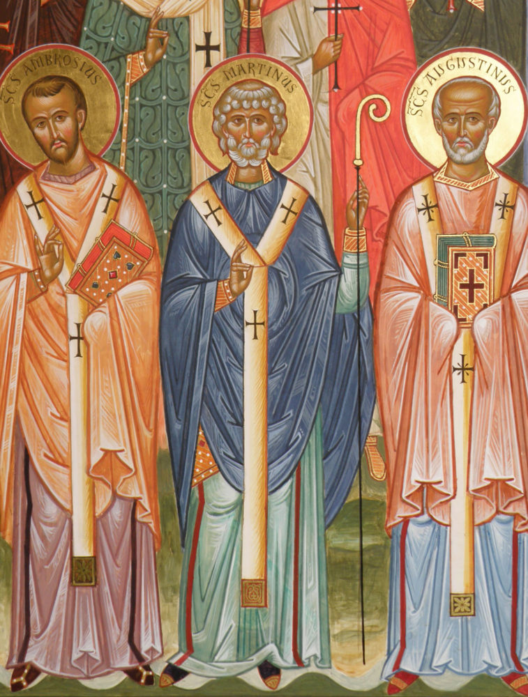 Der Hl. Augustin, Hl. St. Martin vonTour, Hl. St. Ambrosius, Ikonen, Ikonenmaler Alexander Stoljarov