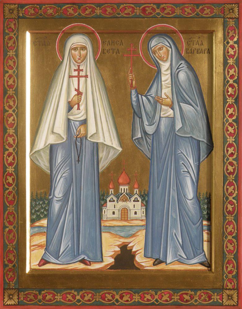 Hl. Elisabeth und Hl. Barbara, Ikone, Ikonenmaler Alexander Stoljarov
